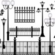 Street lamps and fences — Stock Vector #55585243