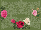 Roses on green — Stock Vector
