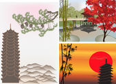Pagoda landscapes — Stock Vector
