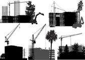 здания и краны — Cтоковый вектор