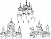 Three orthodox cathedrals — Stockvector