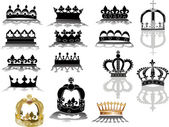 Gold  crowns collection — Stock Vector