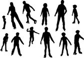 Figure skater silhouettes — Stock Vector