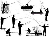 Fishermen silhouettes — Stock Vector