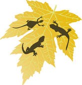Yellow leaf and  lizard silhouettes — Stock Vector