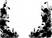 Black poppy half frame — Stock Vector
