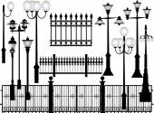 Street lamps and fences — Stock Vector