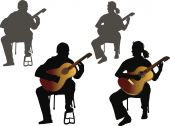 Four guitarists — Stock Vector