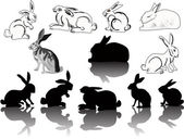 Hare and rabbit silhouettes — Stock Vector