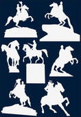 Horseman statues — Stock Vector