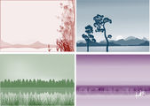 Four landscapes with lakes — Stock Vector