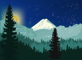 Moon night in  forest — Stock Vector
