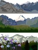Mountain landscapes — Stock Vector