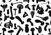 Black fungus silhouettes — Stock Vector