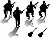 Four guitarists — Stock Vector