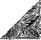 Floral triangular   corner — Vector de stock