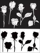 Sagome di rose — Vettoriale Stock