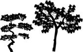 Two pine silhouettes — Stock Vector