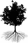Black deciduous tree — Stockvector
