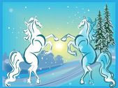 New year  two horses — Stock Vector