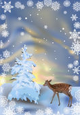 Small deer near winter tree — Vettoriale Stock