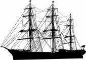 Ship with three masts — Stock Vector