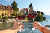 Two wineglasses in the hands — Stock Photo