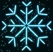 Neon snowflake — Stock Photo