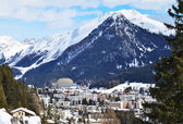 Winter view of Davos, famous Swiss skiing resort — Stock Photo
