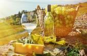 葡萄酒和葡萄。拉沃葡萄园小地区瑞士 — 图库照片