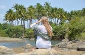 Girl relaxing on Agonda beach — Stock Photo