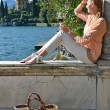 Girl with  wineglass at  Como lake — Stock Photo #71317453