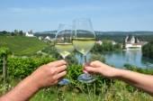 Pair of wineglasses against vineyards — Stock Photo