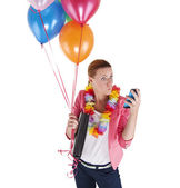 Woman with balloons over white background shock — Stock Photo