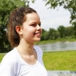 Running woman. Runner jogging in sunny bright light. Female fitn — Stock Photo #75523231