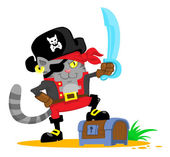 Cute cartoon cat in pirate costume — Stock Vector