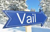 Vail arrow over mountain forest — Stock Photo