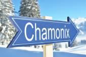 Chamonix arrow over mountain — Stock Photo