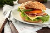 Sandwich with ham, cheese and vegetables — Stock Photo