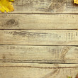 Wooden boards with autumn leafs — Stock Photo #54184503
