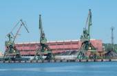 Jeřáby v přístavu Gdyně, uhlí terminál — Stock fotografie