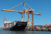Cointainer terminal in port with ship at pier and loading cranes — Stock Photo