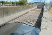Channel with sewage in treatment plant — Stock Photo