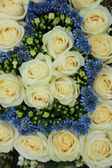 Blue and white wedding flowers — Stock Photo