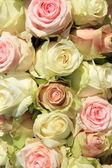白色和粉色的玫瑰,在婚礼的安排 — 图库照片