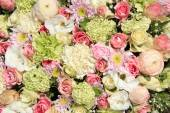 Pink, green and white bridal arrangement — Stock Photo