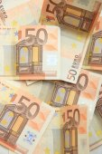 50 euro notes on a pile — Stock Photo
