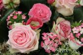 Mixed pink bridal flowers — Stock Photo