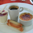 French desserts: Creme brulee and  blancmange — Stock Photo #72358467