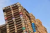 Stacked wooden pallets — Stock Photo